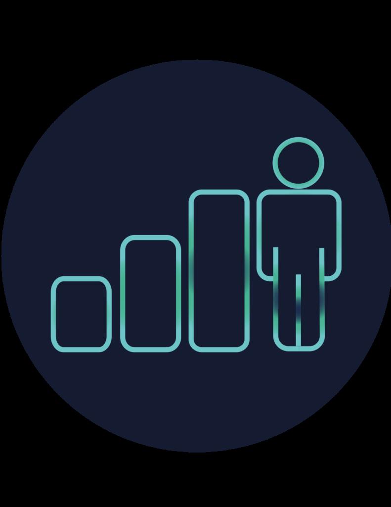 Pictogramme formation présentant un graphique en croissance