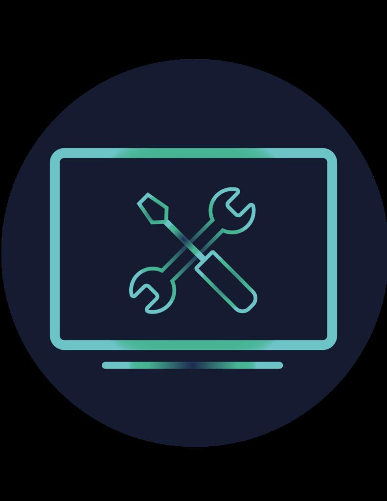 Pictogramme services TI présentant un ordinateur avec des outils